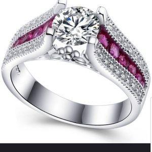 Jewelry - 🌸White Topaz w/Pink Accent Stones Sz 7 Silver 925